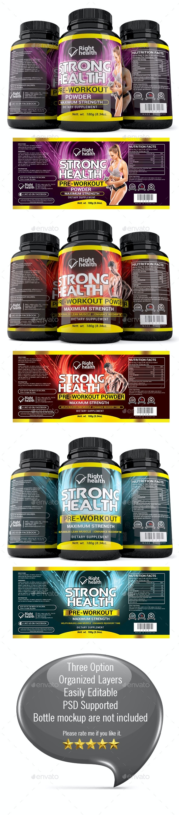 Supplement Label Template 011 - Packaging Print Templates