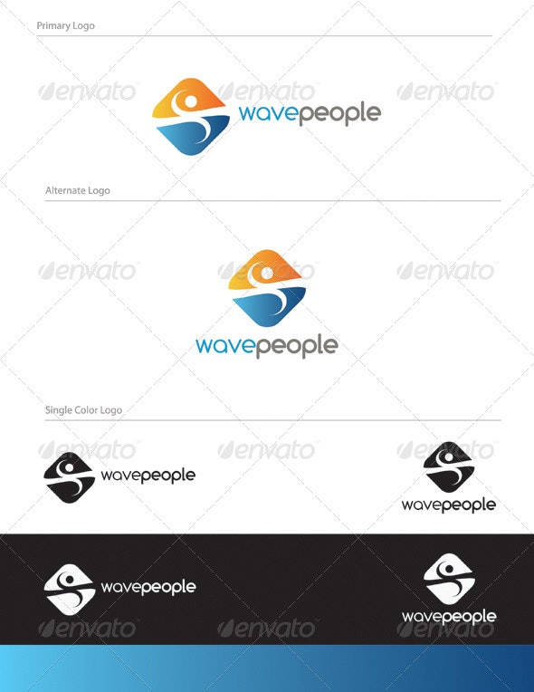 Wave People Logo Design - HUM-009 - Humans Logo Templates