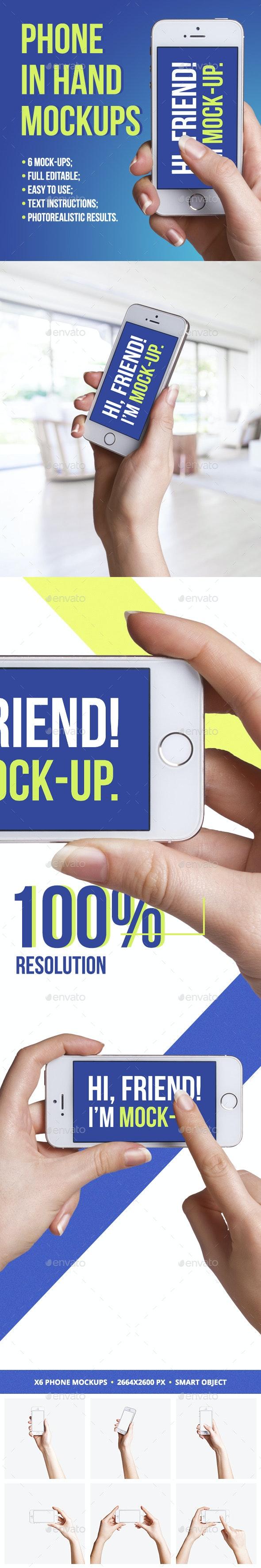 Phone In Hand Mockups - Mobile Displays