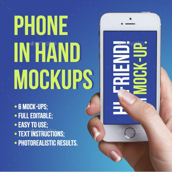 Phone In Hand Mockups