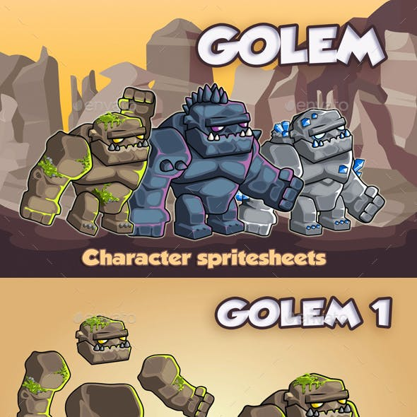 Golems 2D Game Character Sprite Sheet