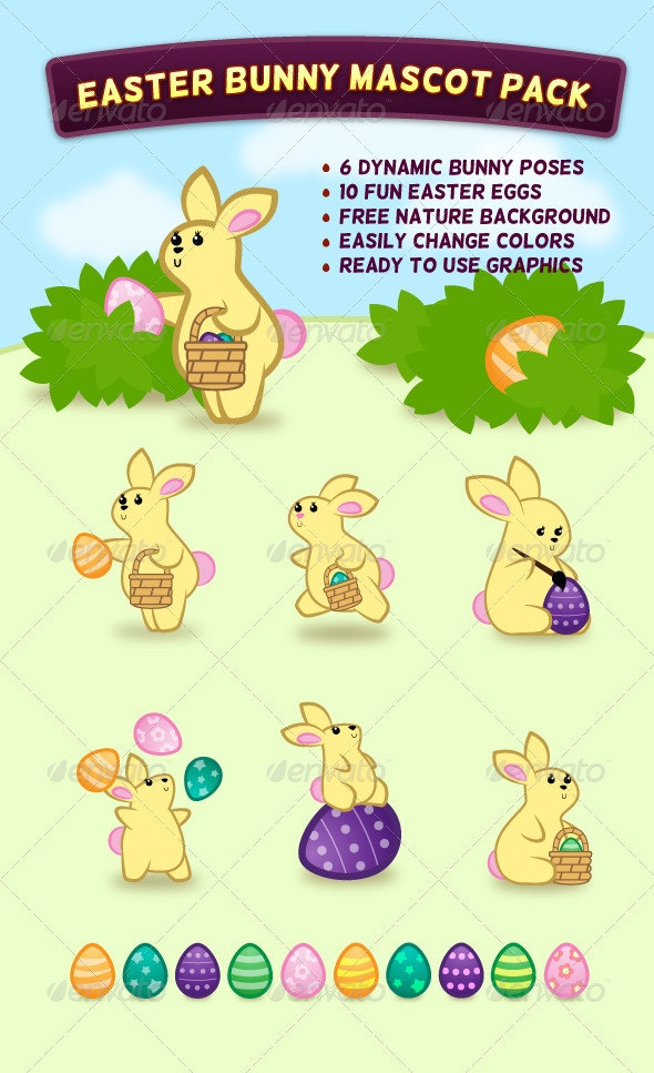 Easter Bunny Mascot Pack - Animals Characters