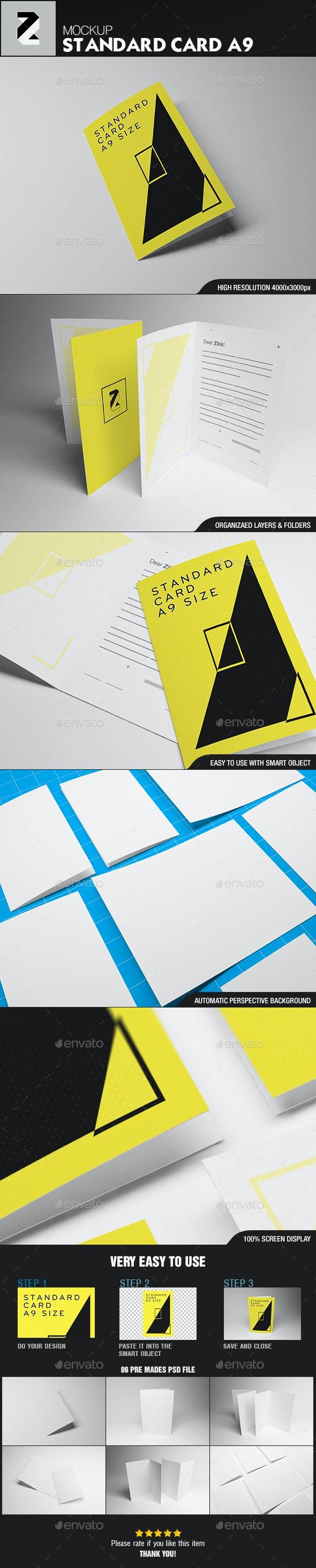 Standard Card Brochure A9 Mockup - Brochures Print