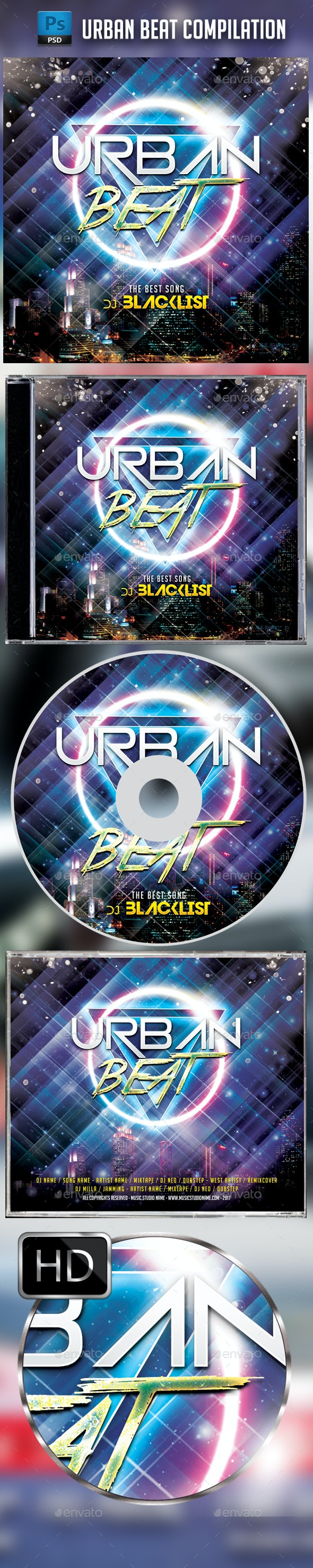 Urban Beat CD Cover Template - CD & DVD Artwork Print Templates