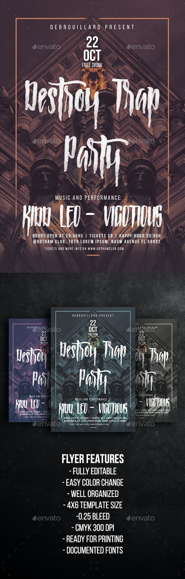 Destroy Trap Party Flyer Template - Clubs & Parties Events