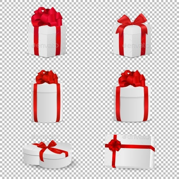 White Gift Box with Red Bow Set Isolated