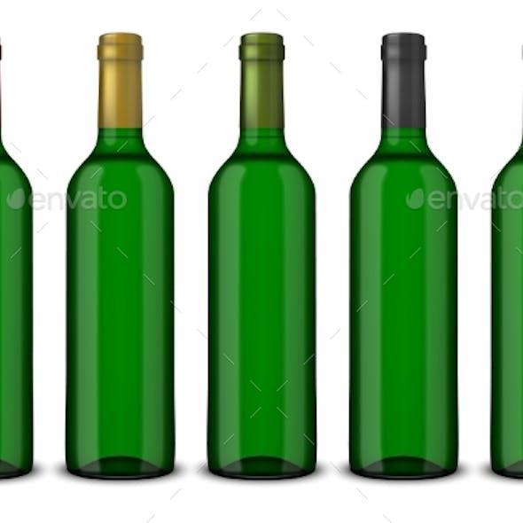 5 Realistic Green Bottles of Wine