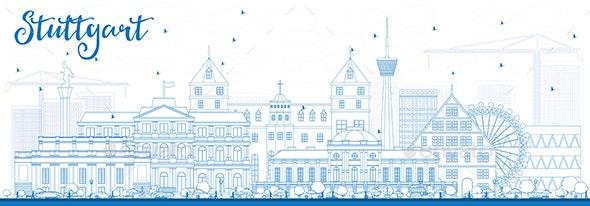 Outline Stuttgart Skyline with Blue Buildings. - Buildings Objects