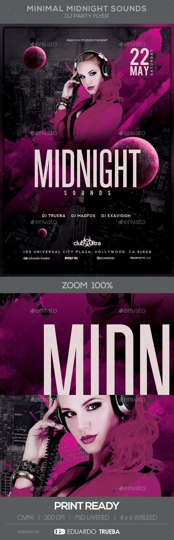 Minimal Midnight Sounds Dj Party Flyer - Clubs & Parties Events