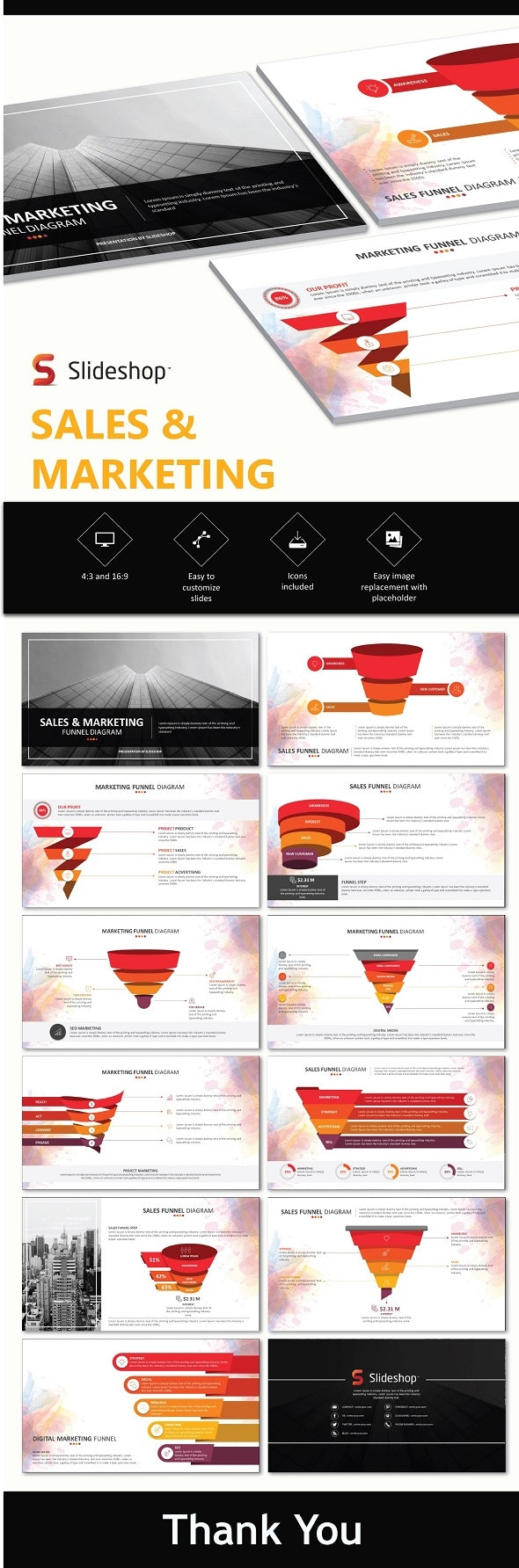 Sales and Marketing Funnels - PowerPoint Templates Presentation Templates