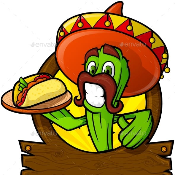 Sympathetic Cactus With a Mexican Taco