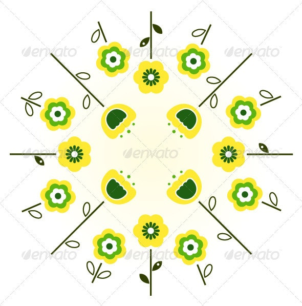 Retro spring flowers in circle - yellow and green - Flowers & Plants Nature
