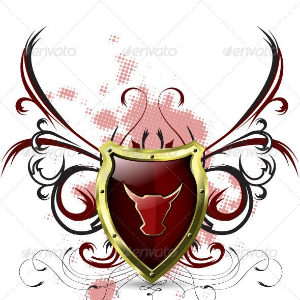Shield with red bull