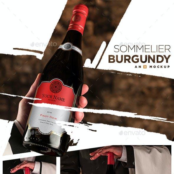 Sommelier Wine Mockup - Burgundy