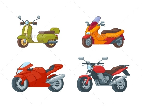 Colorful Motorcycles Collection - Miscellaneous Vectors