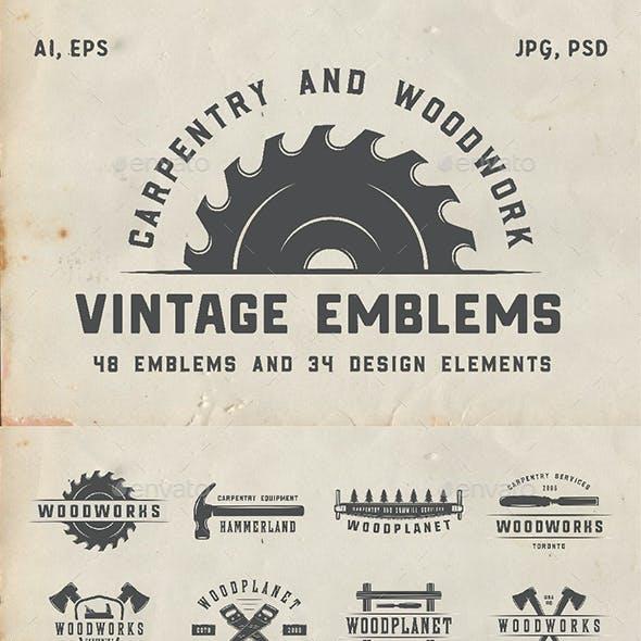 48 Vintage Carpentry Emblems Part 2