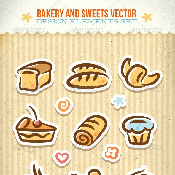 Bakery And Sweets Vector Design Elements Set