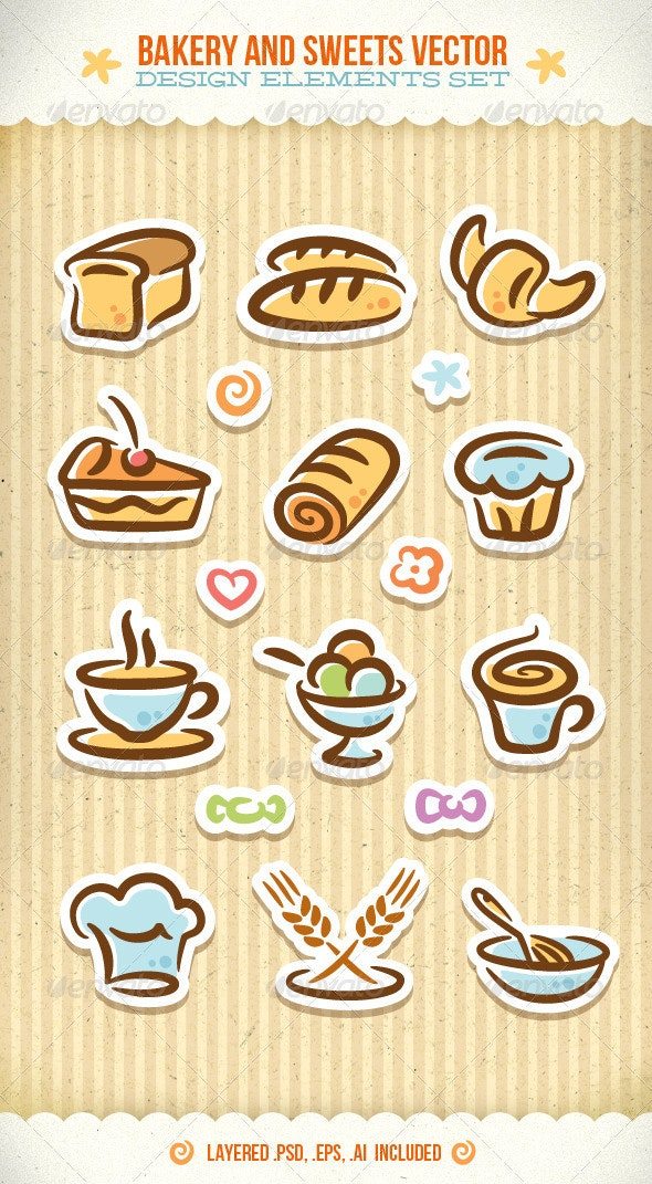 Bakery And Sweets Vector Design Elements Set - Food Objects