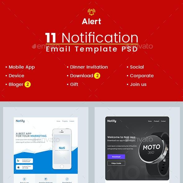 Alert- Notification Email Template PSD