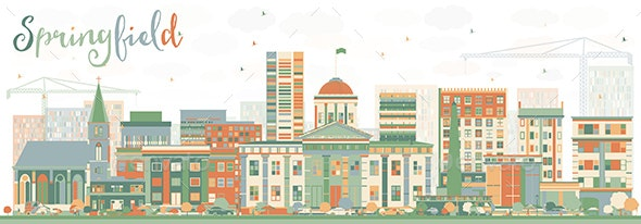 Abstract Springfield Skyline with Color Buildings - Buildings Objects