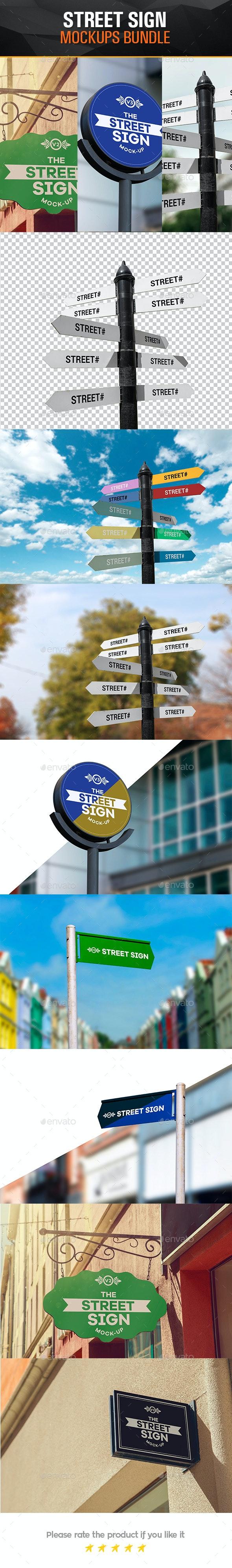 Street Sign Mock-Up Bundle - Product Mock-Ups Graphics