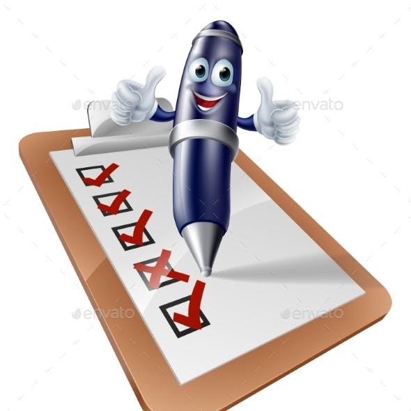Clip Board Survey Cartoon