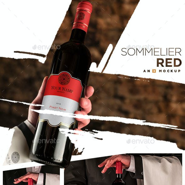 Sommelier Wine Mockup - Bordeaux Red
