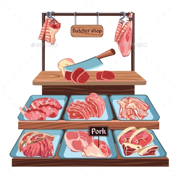 Sketch Butcher Shop Concept - Food Objects