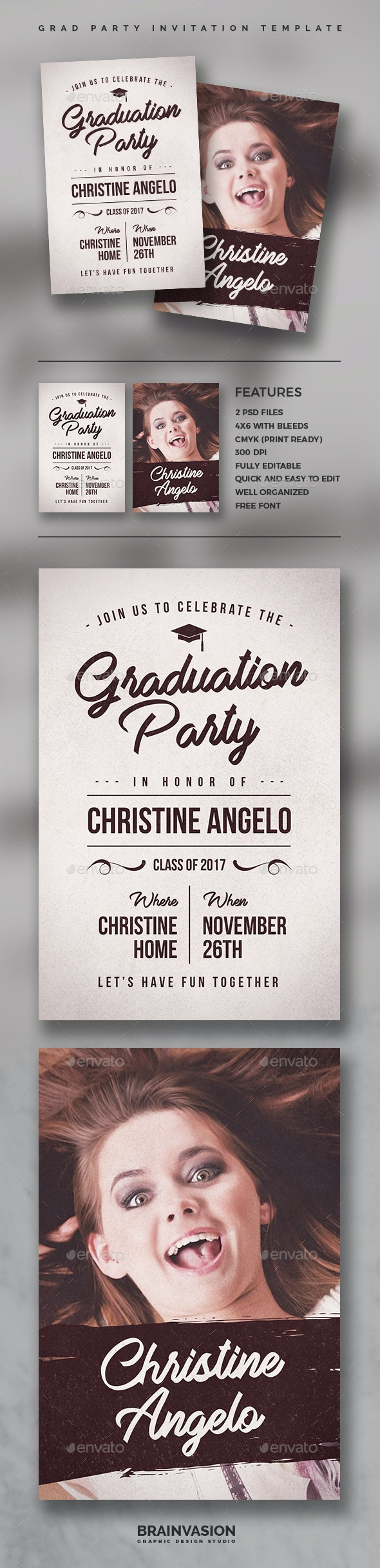 Graduation Party Invitation Template - Invitations Cards & Invites