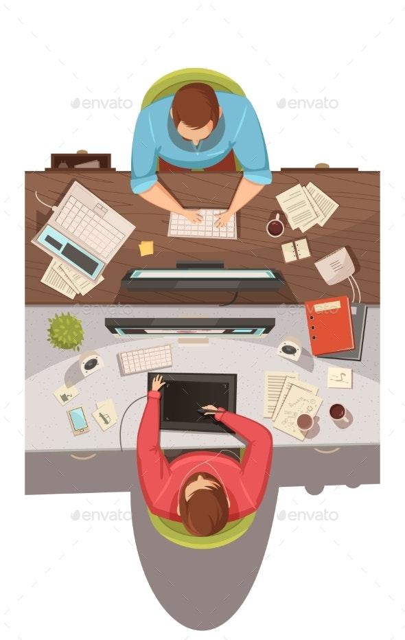 Business Meeting Top View Design Concept - Business Conceptual