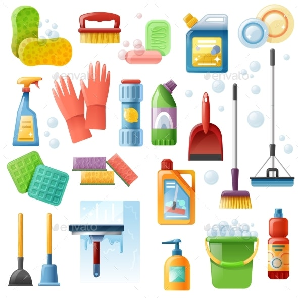 Cleaning Supplies Tools Flat Icons Set - Objects Vectors