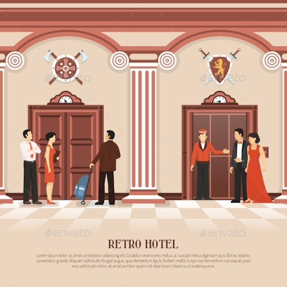 Retro Hotel Elevator Background