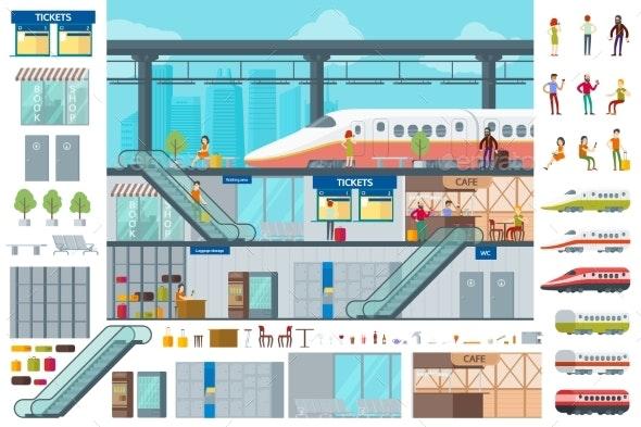 Flat Train Station Infographic Concept - Miscellaneous Vectors