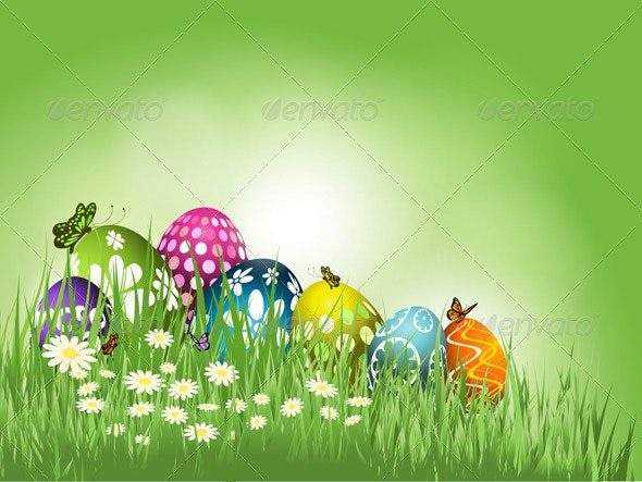 Easter eggs in grass - Seasons/Holidays Conceptual