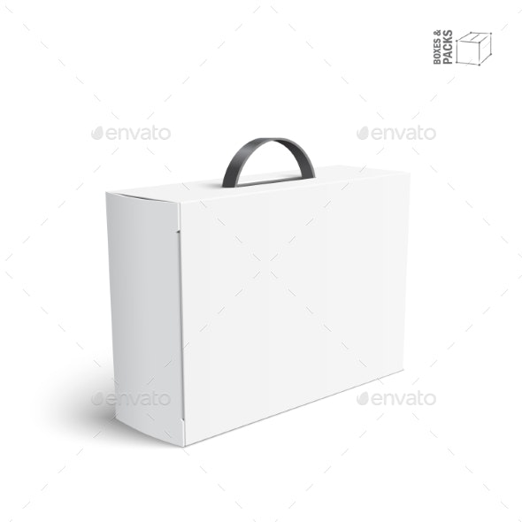 White Blank Package Box with Handle - Man-made Objects Objects
