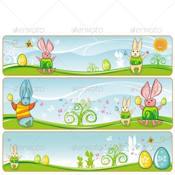 Easter pastel banners