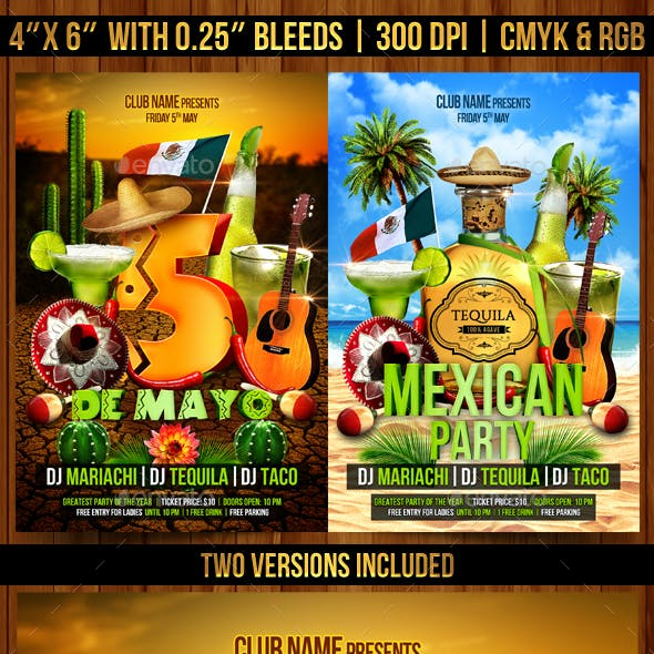 Cinco de Mayo and Mexican Party Flyer