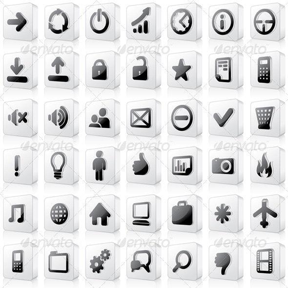 3D BW Interface Icons - Decorative Symbols Decorative