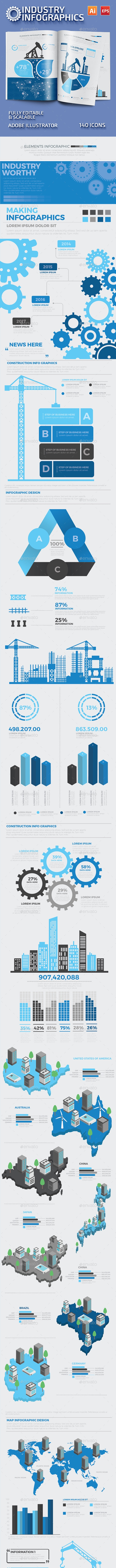 Blue Industry Infographics Design - Infographics