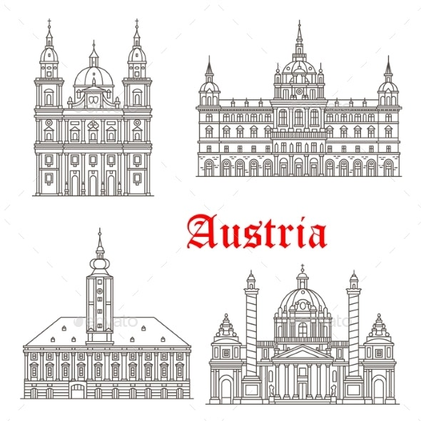 Austria Architecture Buildings Vector Icons - Buildings Objects