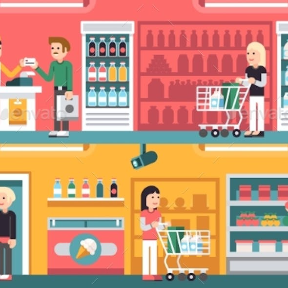Shopping People and Counter in Super Market