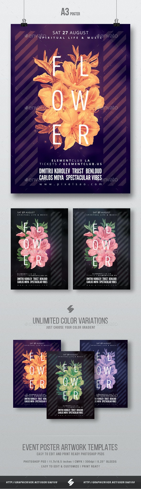 Progressive Flowers - Party Flyer / Poster Template A3 - Clubs & Parties Events