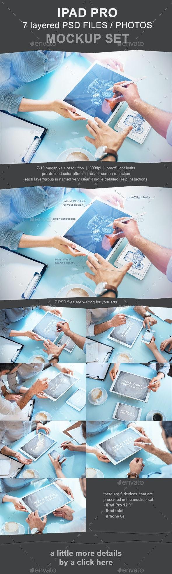iPad Pro Photo Mockup Set - 7 PSD - Mobile Displays