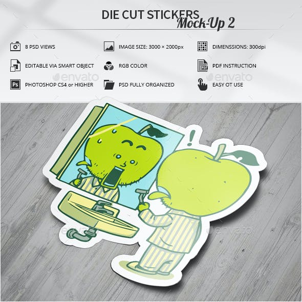 Die Cut Stickers Mock-Up 2