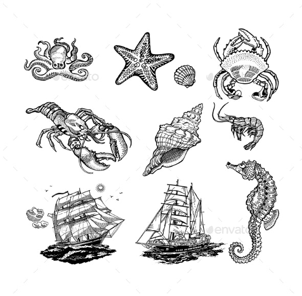 Sea Life Icons - Miscellaneous Vectors
