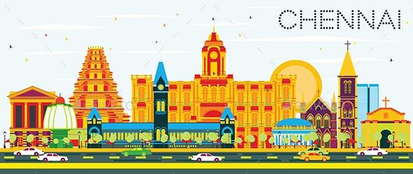 Chennai Skyline with Color Landmarks and Blue Sky - Buildings Objects