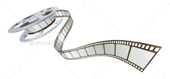 Movie Film Spooling Out of Film Reel - Man-made Objects Objects