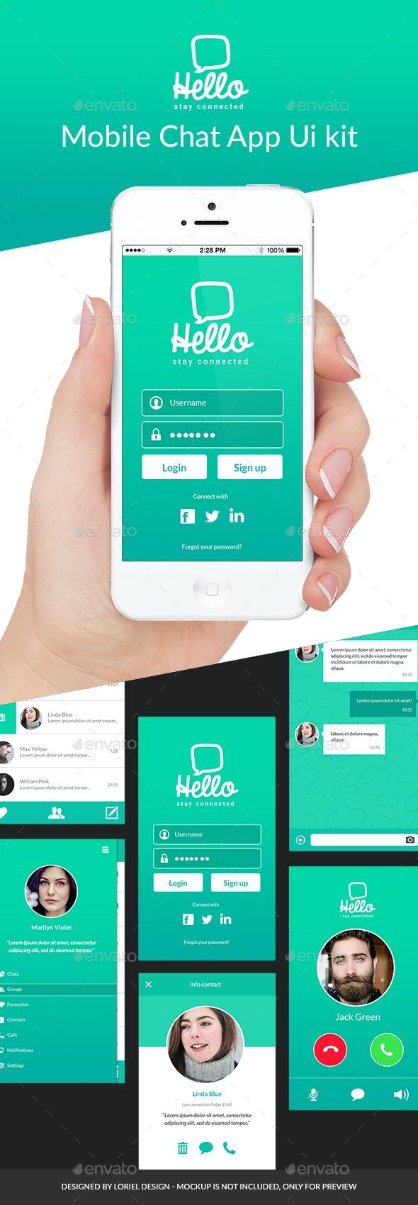 Hello - Mobile Chat App Ui kit - User Interfaces Web Elements