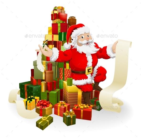 Santa with Gifts List - Seasons/Holidays Conceptual