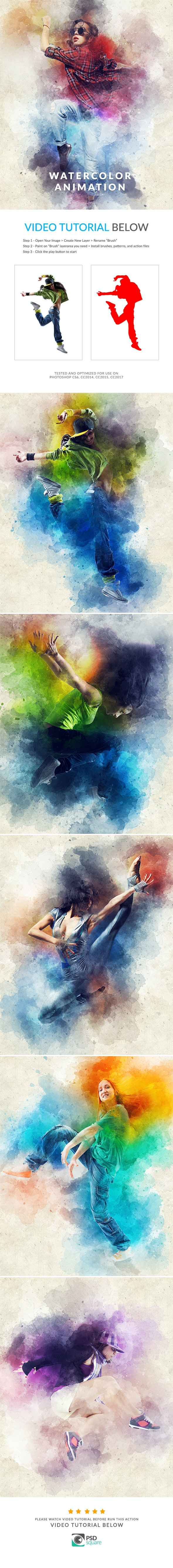 Watercolor Animation Photoshop Action by PSDSquare